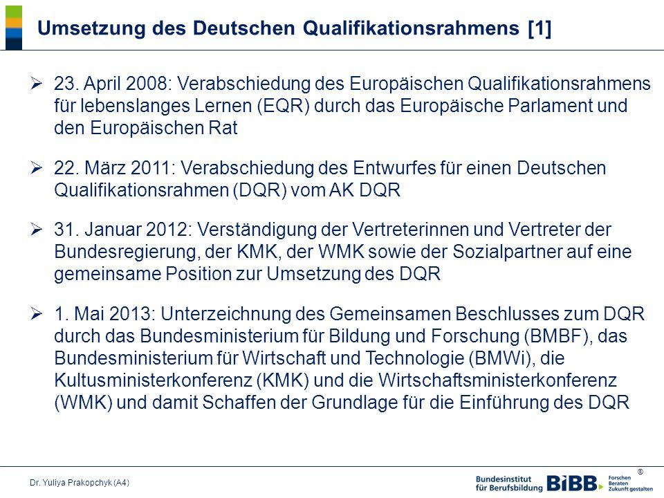 Umsetzung des Deutschen Qualifikationsrahmens [1]